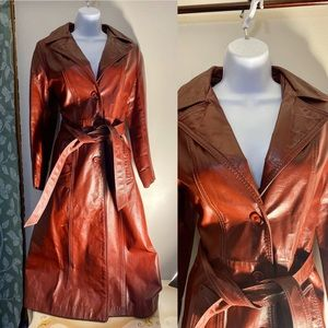 Jackets & Blazers - Vintage Dark Red Leather Trench Coat